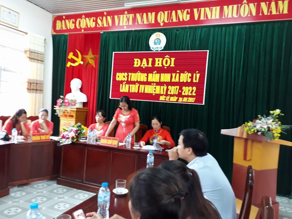 Trường mầm non Đức Lý tổ chức Đại hội công đoàn năm học 2017-2018
