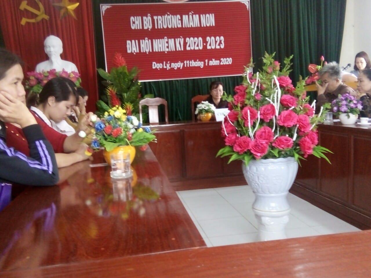 Trường Mầm non xã Đạo Lý đã tổ chức đại hội chi bộ Đảng nhiệm kỳ 2020-2023